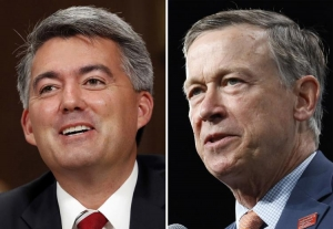 In these file photos, former Colorado Gov. John Hickenlooper, left, and Sen. Cory Gardner, R-Colo., are pictured. Hickenlooper is the leading Democratic challenger to Gardner in the 2020 election but is facing a primary. (AP Photos/File)