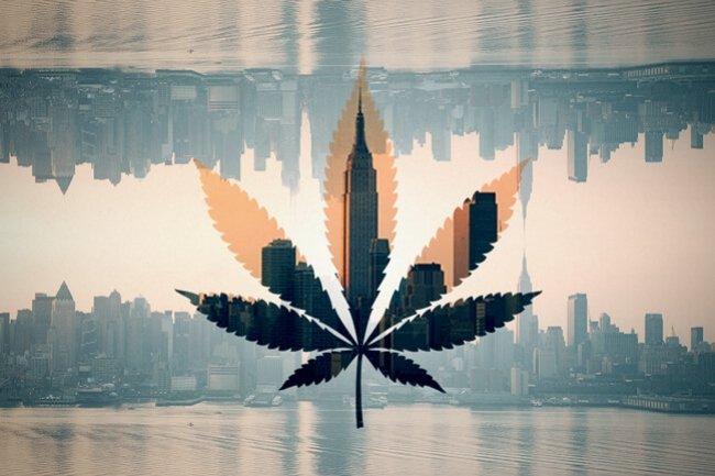 New York skyline with cannabis leaf